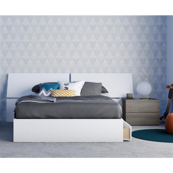 Ensemble de chambre à coucher 3 pièces Origin, gris écorce et blanc, lit double