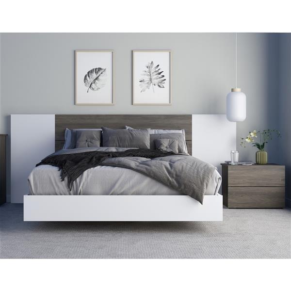 Nexera Monroe 4 Piece Bedroom Set Bark Grey And White Queen Size 402432 Rona