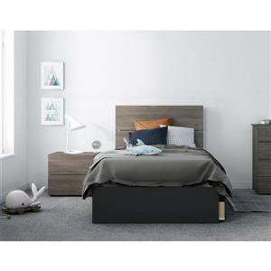 Ensemble de chambre à coucher 3 pièces Chinook, gris écorce et noir, lit simple