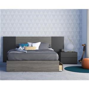 Nexera Amaro 4 Piece Bedroom Set -  Bark Grey and Black - Full Size