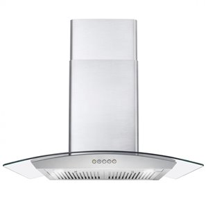 Cosmo Wall Mount Range Hood with LED Light - 380 CFM - 30-in - Stainless Steel