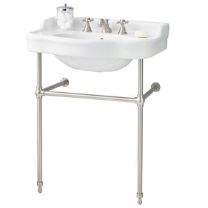 Cheviot Antique Console Bathroom Sink - 28-in - White/Brushed Nickel
