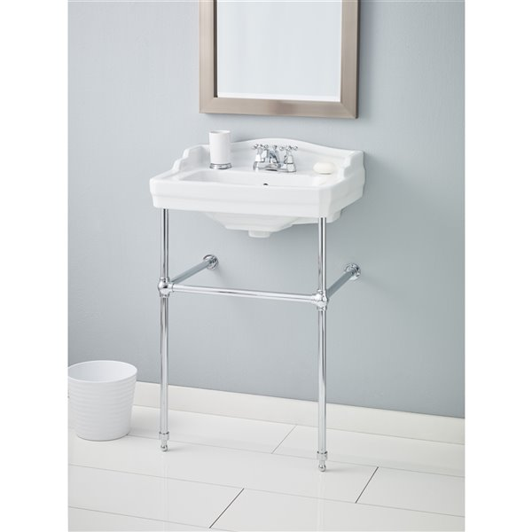 Cheviot Essex Console Bathroom Sink - Vitreous China - 24-in - White/Chrome