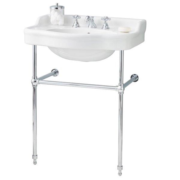 Cheviot Antique Console Bathroom Sink 28 In White Chrome Rona