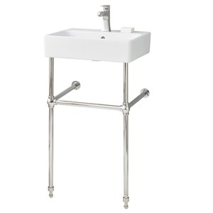 Cheviot Nuo Console Bathroom Sink - 19.75-in - White/Polished Nickel