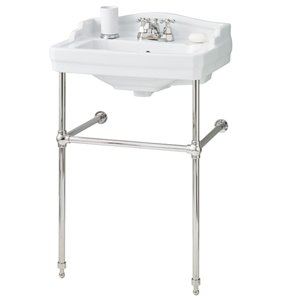 Cheviot Essex Console Bathroom Sink - 24-in - White/Polished Nickel
