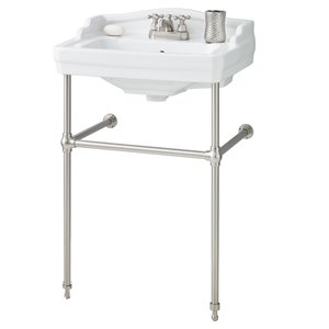 Cheviot Essex Console Bathroom Sink - Vitreous China - 24-in - White/Brushed Nickel