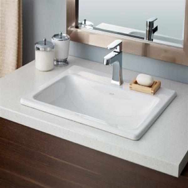 Cheviot Manhattan Drop-In Bathroom Sink - 21.63-in - White