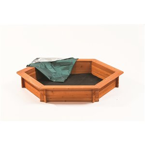 Creative Cedar Designs Wood Hexagon Sandbox - 59-in L x 51-in W x 9-in H