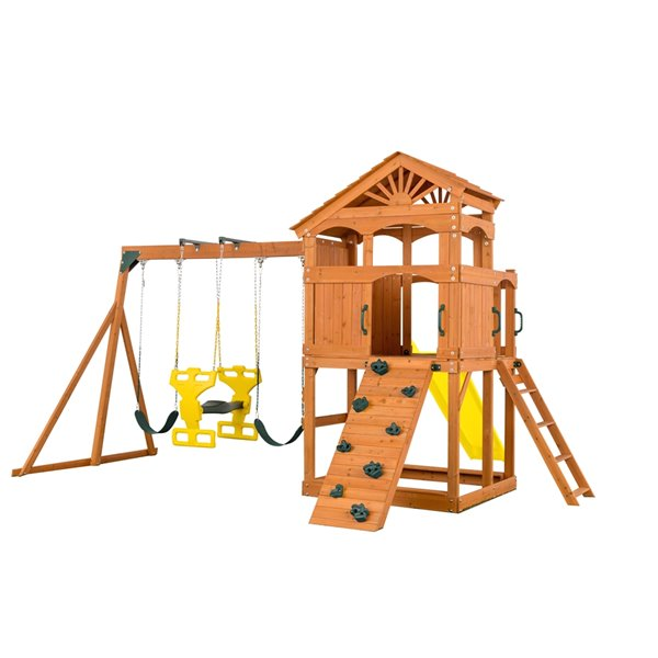 Creative Cedar Designs Timber Valley Playset - Green with Yellow Slide