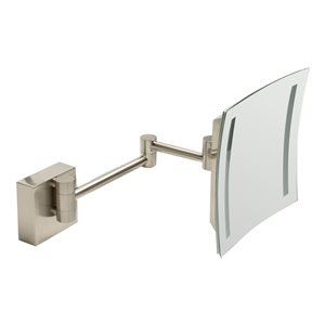 ALFI Brand Wall Mount Cosmetic Mirror with LED Light - 5x Magnify - 8-in - Brushed Brass