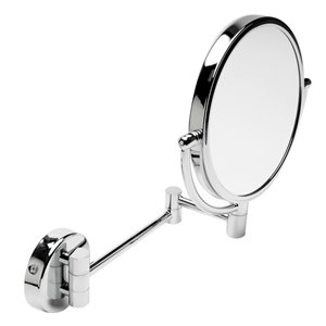 ALFI Brand  Round Wall Mount Cosmetic Mirror - 5x Magnify - 8-in - Polished Brass