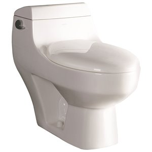 EAGO Elongated 1-Piece Toilet - Standard Height - 15.75-in - White