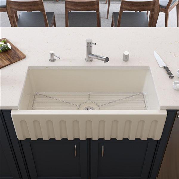 ALFI Brand Apron Front/Farmhouse Kitchen Sink - Single Bowl - 36-in x 18-in - Off-White