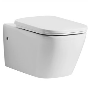 EAGO Wall Mount Toilet - Dual Flush - Comfort Height - 17.75-in - White