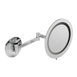 ALFI Brand Wall Mount Cosmetic Mirror with LED Light - 5x Magnify - 9-in - Polished Brass