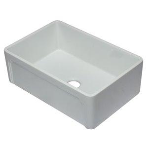 ALFI Brand Apron Front/Farmhouse Kitchen Sink - Single Bowl - 29.75-in x 20.88-in - White