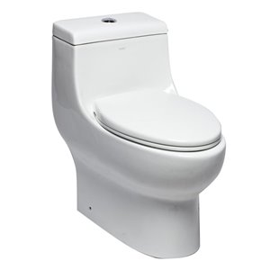 EAGO 1-Piece Toilet - Dual Flush - Standard Height - 15.75-in - White