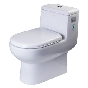 EAGO Elongated 1-Piece Toilet - WaterSense Dual Flush - Standard Height - 15.25-in - White