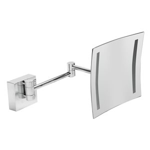 ALFI Brand Wall Mount Cosmetic Mirror with LED Light - 5x Magnify - 8-in - Polished Brass