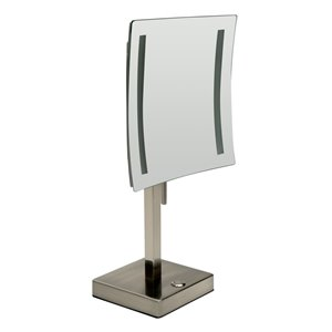 ALFI Brand Cosmetic Mirror with LED Light - 5x Magnify - 8-in- Brushed Brass