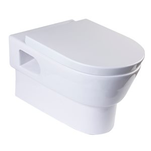 EAGO Elongated Wall Mount Toilet - Dual Flush - Comfort Height - White