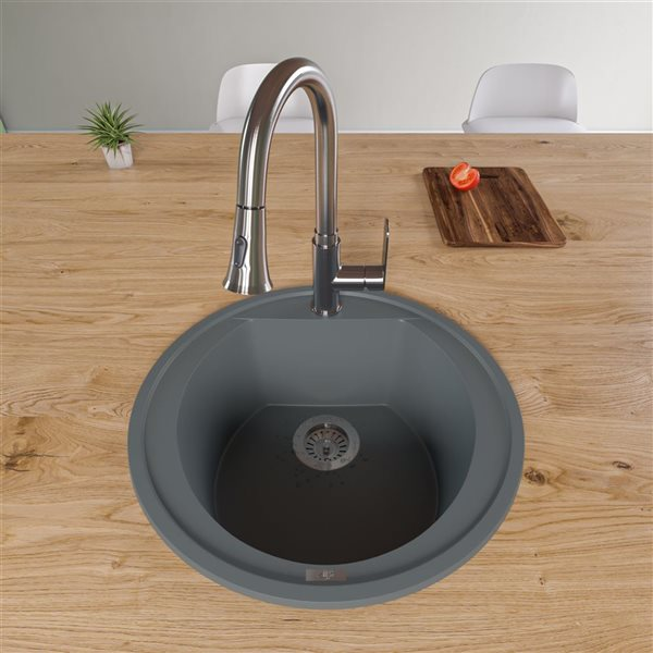 ALFI Brand Drop-in Kitchen Sink - Single Bowl - 20-in x 20-in - Grey