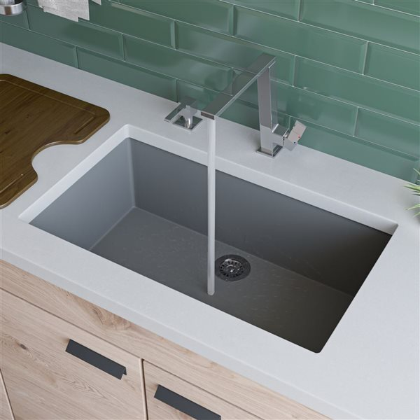 ALFI Brand Undermount Kitchen Sink - Single Bowl - 29.88-in x 17.13-in - Grey