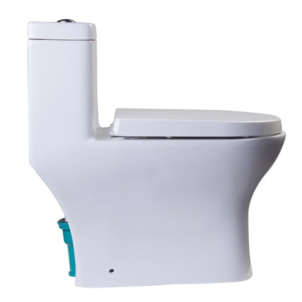 EAGO Dual Flush Elongated Toilet - WaterSense - Standard Height - 15.25-in - White