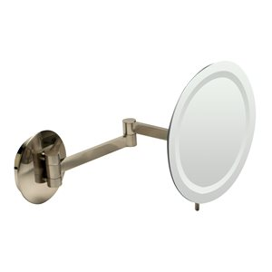 ALFI Brand Wall Mount Cosmetic Mirror with LED Light - 5x Magnify - 9-in - Brushed Brass