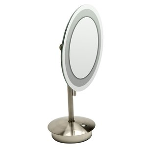 ALFI Brand Round Cosmetic Mirror with LED Light - 5x Magnify - 9-in- Brushed Brass