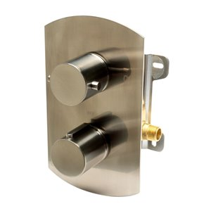 ALFI Brand Thermostatic Mixing Shower Valve - 2-Handle - Brushed Nickel