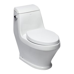 EAGO Elongated 1-Piece Toilet - Single Flush - Standard Height - 15.75-in - White