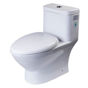 EAGO Oval Elongated Toilet - Dual Flush - Standard Height - 15.25-in - White