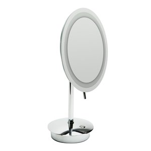 ALFI Brand Round Cosmetic Mirror with LED Light - 5x Magnify - 9-in- Polished Brass