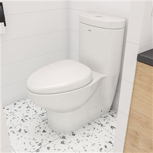 EAGO Oval Elongated Toilet - WaterSense Dual Flush - Standard Height - 14.5-in - White