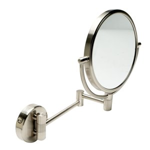 ALFI Brand  Round Wall Mount Cosmetic Mirror - 5x Magnify - 8-in - Brushed Brass