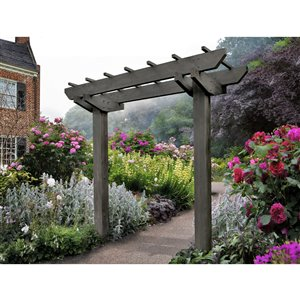 New England Arbors Wildwood Arbor with 2 Post - Charcoal - 6-ft