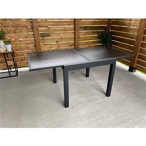 Table extensible Corriveau, aluminium, noire,  35 po x 35 po à 70 po,