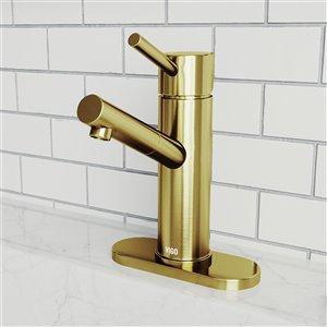Robinet de salle de bain monotrou Noma de VIGO avec plaque de pont, or mat brossé