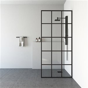 VIGO Industries Mosaic Fixed Framed Shower Screen - Black - 34-in x 74-in