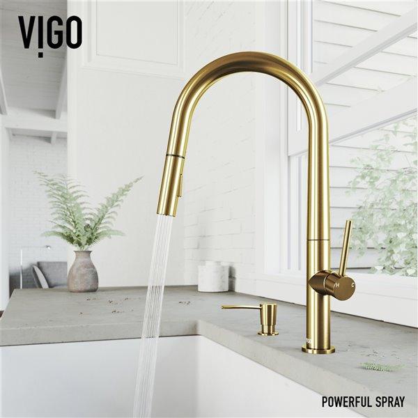 VIGO Greenwich PullDown Spray Kitchen Faucet and Soap Dispenser - Matte Brushed Gold