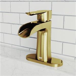 Robinet de salle de bain monotrou Paloma de VIGO avec plaque de pont, or mat brossé