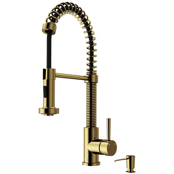 VIGO Edison Pull-Down Spray Kitchen Faucet and Soap Dispenser - Matte Brushed Gold