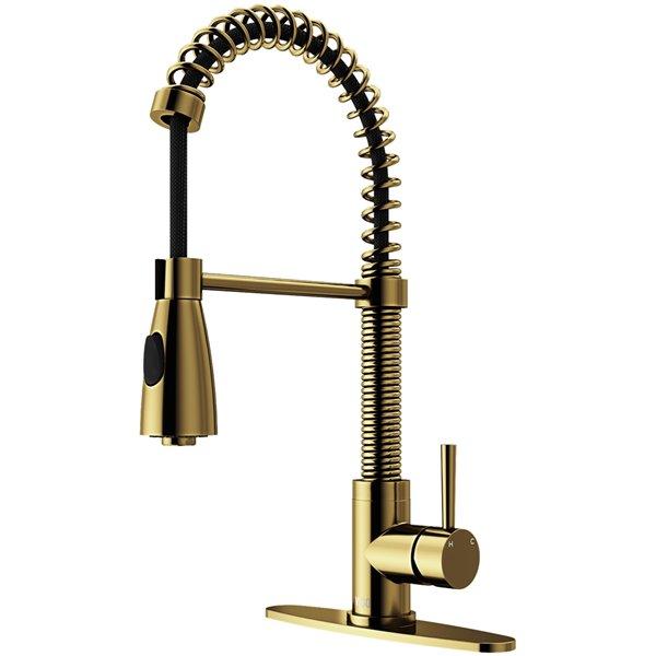VIGO VIGO Brant Pull-Down Spray Kitchen Faucet and Deck Plate - Matte Brushed Gold