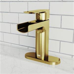 Robinet de salle de bain monotrou Ileana de VIGO avec plaque de pont, or mat brossé
