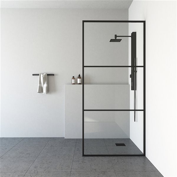VIGO Industries Divide Fixed Framed Shower Screen - Black - 34-in x 74-in