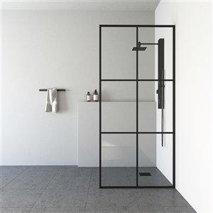VIGO Industries Ventana Fixed Framed Shower Screen - Black - 34-in x 74-in