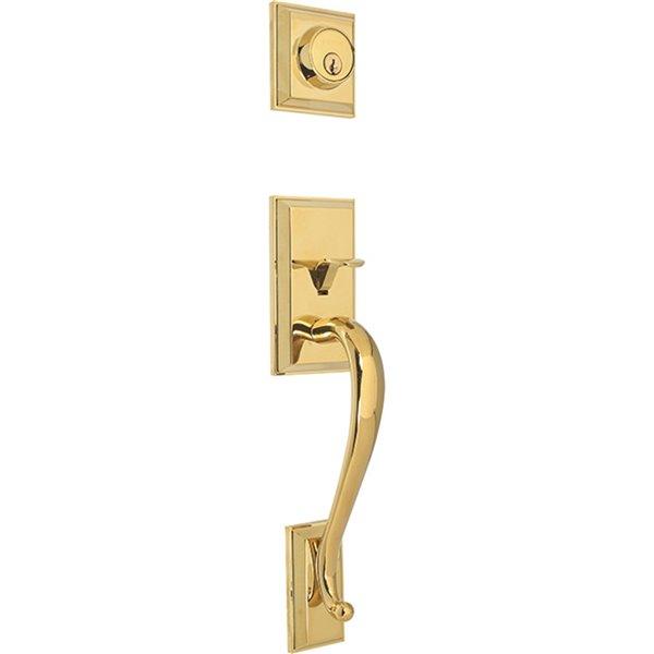 Forge Locks Melia Entrance Gripset with Deadbolt - Polished Brass