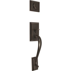 Poignée de porte d'entrée avec pêne dormant Melia de Forge Locks, bronze huilé